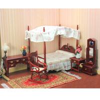 free shipping- Dollhouse doll house model fashion mahogany bed  1:12