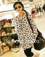 Women Korean Fashion Leopard Long Sleeves T-shirt Lips pattern big size Thin women