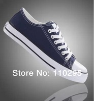 New 2014 low canvas casual rubber sole women/men shoes flat lace-up summer sneakers free shipping wholesale