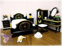 free shipping- Dollhoue mini furniture doll house furniture black walnut gold luxury  1:12