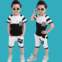 2014 Summer Children's Clothing New Fashion Boys Clothing Set Boy's Cotton Short-sleeve T-shirt+Pants twinset Sports Set