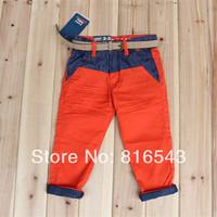 kids pants Brand ZA UK Design 2014 new Fashion Patchwork children pants Button Zipper boys pants With Belt high quality