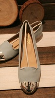 new2014 Women's shoes single shoes flat comfortable brief all-match metal candy color