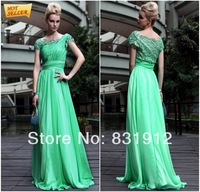 2014 New Arrival Scoop Neckline Elegant Short Sleeve Charming Green Evening Gown Sexy A-line Prom Dresses Special Party Gowns