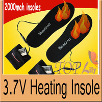 1Pair WARMSPACE 3.7V Heating Electric Sports Insole Rechargeable 2000MAh Li-ion Battery&USB Charger For Winter Outdoor FreeShipp