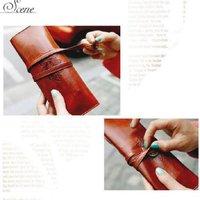 Fashion New Women Ladies Cosmetic Bags Retro Makeup Brush PU Leather Pen Case Folding Strap Tidy Bag Pouch Organizer 600462