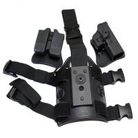 Polymer Retention Roto RH Tactical Airsoft Paintball Holster Set  ( Drop Leg Panel + Holster + Double Mag Pouch ) For G17/22/31