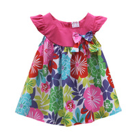 2014 Summer Baby Girl Dress Fashion Female Child One-piece Dress Toddler Girls Short-sleeve Dress Floral Princess Dress