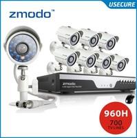 Zmodo 8ch 960h cctv video surveillance camera security system 8pc 700tvl outdoor camera kit hdmi 1080p output+Free Shipping