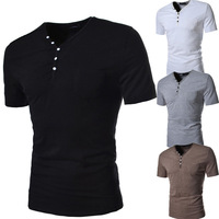 2014 Hot with decorative buttons fashion men's short sleeve V-neck T-shirt men muscle Tee Free Shipping 129183