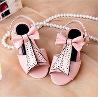 Hotsale 2014 Fashion princess shoes children rivet rhinestone bow open toe sandals shoes girls slippers Free shipping 26-36