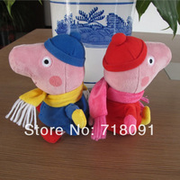 19CM,2PCS/LOT,Winter Dress Peppa Pig Toys Plush Stuffed Peppe George Doll,Kid's Gifts,Drop Free Shipping