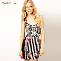 2014 european dress Royal richcoco fashion stripe print flower sleeveless o-neck vintage d130 one-piece dress