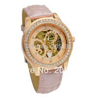 2014 Brand Dress Watch Bracelet Women Rhinestone Watches Leather Rose Gold Mechanical Watch Wristwatches HK Post Free Shipping