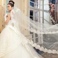 1PCS Free Shipping Wedding Part Dress 3M Bride Veil With Graceful Flower Edge Mantilla Design Promotion