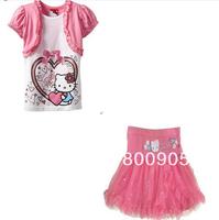 retail children's clothing set kids  girls  hello kitty short-sleeves summer  top tops  + tutu skirt skirts 2 pces set