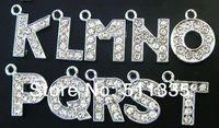 Wholesale 130pcs/lot A-Z full rhinestone letter hang pendant charm , fit for diy bracelet , key chain