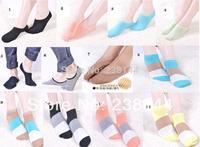 Min order 10 pair Wholesale Liner Socks No Show Peds Boat Ballet Plain Footies Boat Shaped Socks striped socks stitching color