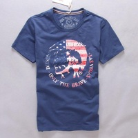 Male cotton tspj dsl water wash flag slim casual short-sleeve T-shirt 2