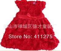 retail girls summer roses flowers  dress children  kids lovely clothing girl cute  dresses