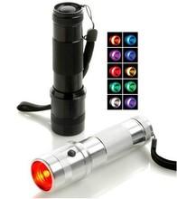 LED RGB Color Changing Torch Flashlight,3W Aluminium Alloy RGB Edison Multi color led flashlight rainbow of colors Flashlight(China (Mainland))