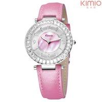 Watch women leather brand KIMIO casual fashion clock quartz analog crystal charm diamond 10 water resistant watch free shipping