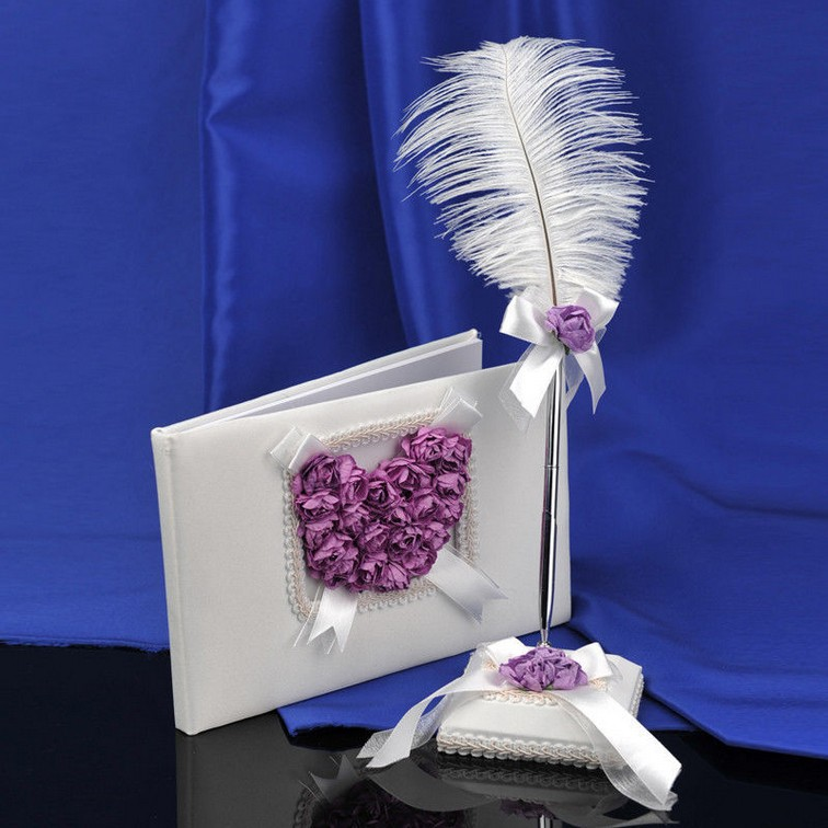 Free Shipping Wedding Guest Book and Feather Pen Set With Lilac Rose Heart (2pcs)(China (Mainland))