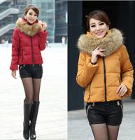free shipping 8513 down coat large fur collar slim down short design  down jacket