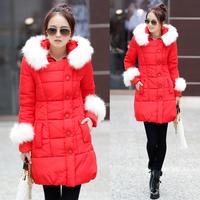 My547  autumn cotton-padded jacket female medium-long thickening casual loose plus size down wadded jacket female