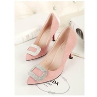 Fashion Sheepskin genuine leather 7CM high heels women pumps with rhinestones big size US 3-9 for Wedding and Party
