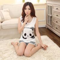 Teenage 2014 100% o-neck cotton sleeveless summer sleep set female shorts vest