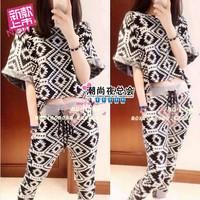 (Min order is $10) 3781 summer 2014 casual graphic fashion geometric patterns twinset mushroom female set