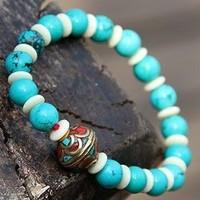 free shipping 1pcs Vintage evil spirits lucky tibetan jewelry natural turquoise bead bracelet
