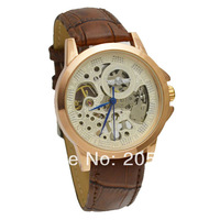 NEW Item HK Post Free Shipping Mens Watches Brands Leather Mechanical Watch Gold Sports Watches Clock Men Wristwatch