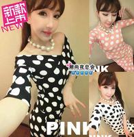 (Min order is $10) 3840 summer 2014 V-neck sexy strapless polka dot t-shirt female top high waist bust skirt casual female set