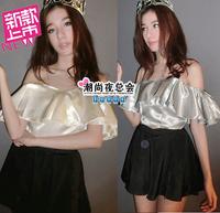 (Min order is $10) 3905 summer silk 2014 slit neckline mushroom ruffle sexy fashion women's small vest