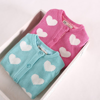 2014 Promotion Hot Sale Sweater Girl Girls Sweater Wholesale Color Heart-shaped Cardigan Children's Clothing 5pcs/lot Ze031703