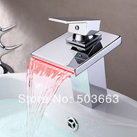 Construction Real Estate LED New Modern Water Power Waterfall Chrome Brass Single Handle Bathroom Sink MF-1024 Mixer Tap Faucet