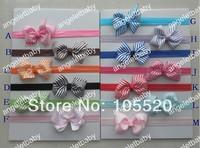 "40pcs Baby Grosgrain ribbon hair bow 3"" Bowknot  Glued to Iridescent Elastic skinny headbands stretchy soft Hair bands  SG8502"