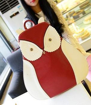 2014 женщин сумки мультфильм сова рюкзак цвет блока стерео студент мешок