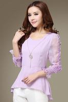 2014 New Limited Solid O-neck Three Quarter Cotton Formal Appliques Long Cardigan Spring Women's Chiffon Shirt Female Shipping