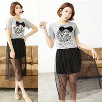 free shipping!New Skull dress  Gauze Long Dress  Short-sleeved dress