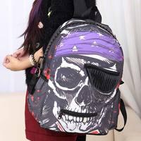 Free shipping Street  personalized skull punk nylon  school bag punk bags  women backpack pupil backpacks high school bookbag