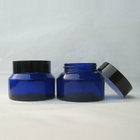 High quality  50g blue cosmetic glass jar cream Glass containers glass packaging bottle wholesale 1.7oz