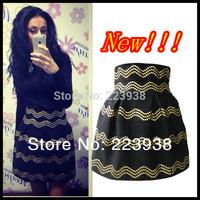 Hot Sell 2014 New Women Winter skirts Fashion Brand Gold Rivet Stripe High Waist Elastic Ball Gown High quality Short Skirt