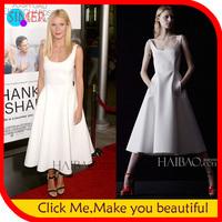 2014 New Fashion Spring Women's White Sexy Bodycon Dress Pockets O-neck Mid-calf Sleeveless Celebrity Dress With Belt