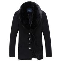 2014 New Arrival Korea Style Thicken Cotton Mens Windbreaker Ovo collar woolen material coat Korean Slim coat