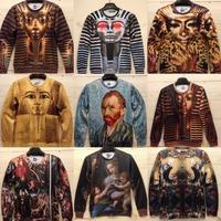 Men Women Egyptian King Tut Pharaoh 3D Long Sleeve Sweatshirt Pullover Sweats Hoodies Top