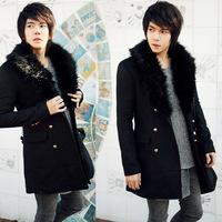 2014 New Arrival Korea Style Thicken Cotton Mens Windbreaker Ovo collar woolen trench coat tide male woolen coat long section