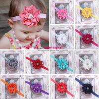 Free Shipping Kids Baby Girls Newborn Toddler Children Flower Lotus Rhinestone Headband Headwear Hair Bow Accessories Set Lot